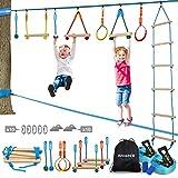 Jugader Ninja Warrior Obstacle Course for Kids 50FT Ninja Slackline with Ladder, Monkey Bars, Gym Rings, Rope Knots (Ninja Slackline + Slack Line)