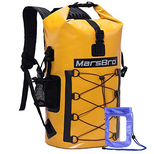 MarsBro Waterproof Backpack Dry Bag 1000D PVC 35L/50L HF Welded Seams Roll-Top Closure for Kayaking, Canoeing, Surfing, River Tracing, Sailing with Waterproof Phone Pouch Yellow 35L