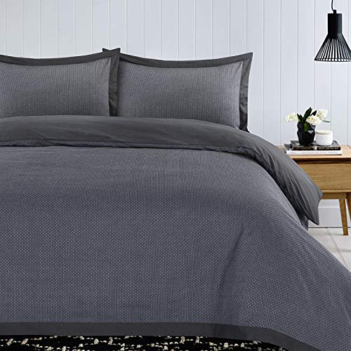 Nimsay Home Clyde 100% Cotton Soft Luxury Woven Dobby Pin Dot Quilt Duvet Cover Bedding Set - Grey - King