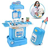 ONDEKT Kids Doctor Set – 15 Pieces Kid's Medical Pretend Playset On Trolley – Durable Play Educational Doctor Set – Clinic On Wheels - Easy to Store and Carry for Girls & Boys – Small Suitcase