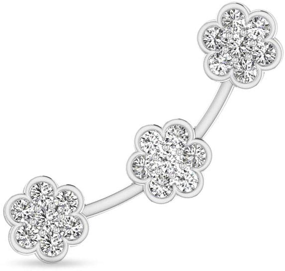 14 Karat White Gold IGI Certified Diamond Ear Cuff Earring, Unique Flower Push Back Cuff Wrap Earring for Women - IJ-SI Color Clarity