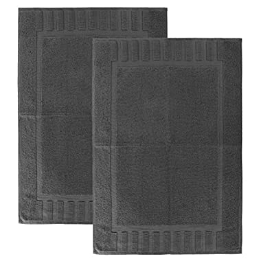 Luxury Hotel and Spa 100% Cotton Banded Panel Bath Mat Set 22 x34  (2, Grey)