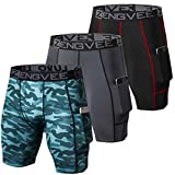 ZENGVEE 3 Piezas Pantalon Running Hombre de Secado Rápido para Deportes Hombre para Gym, Yoga, Running(Black Grey Camo Green-L)