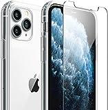 Custodia per iPhone 12/iPhone 12 Pro Cover + Pellicola Vetro Temperato, 1X Trasparente Hard Hybrid Cover + 2X Pellicola Protettiva in Vetro Temperato per iPhone 12/12 Pro. (12 Pro, Trasparente)