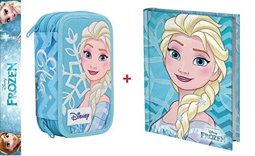 Estuche Deluxe escolar completo de 3 pisos Frozen Elsa + diario azul turquesa