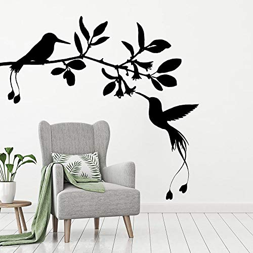 wZUN Pájaro en la Flor Etiqueta de la Pared Arte de Vinilo Flor Animal para la decoración de la habitación Familiar 85X81cm