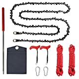 Toyeah Upgrade 50 Inch High Reach Tree Limb Hand Rope Saw with 64 Sharp Teeth Blades on Both Sides, Folding Pocket Chain Saw for Camping, Tree Trimming, Hunting & Field Survival Gear