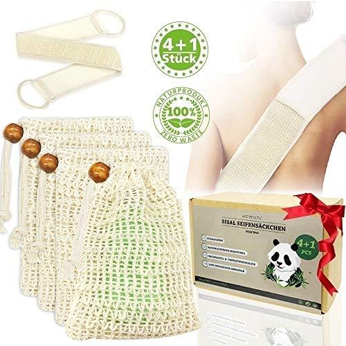 Seifensäckchen Sisal 4 Stück + Rückenschrubber Kit, Plastikfrei Natur Seifensack Zero Waste Seifennetz für Trocknen und Aufschäumen der Seife, für Körper-Peeling und Massage