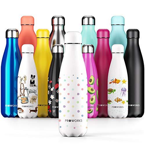 Proworks Botellas de Agua Deportiva de Acero Inoxidable | Cantimplora Termo con Doble Aislamiento para 12 Horas de Bebida Caliente y 24 Horas de Bebida Fría - Libre de BPA - 1L - Blanco - Lunares