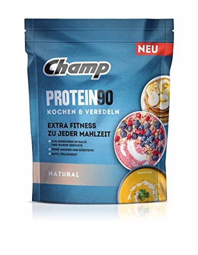 Champ Protein 90 Eiweißpulver, Proteinpulver mit 85 % Eiweißgehalt zum Kochen & Veredeln, geschmacksneutral, 360 g