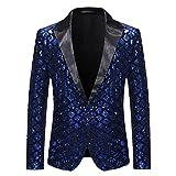 BBTURE Royal Blue Sequins Embellished Blazer de hombre de un solo botón brillante a cuadros esmoquin Blazer Discoteca de baile traje, Royal Blue1, XL