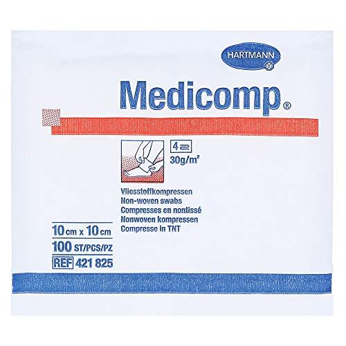 Hartmann 4218252 Medicomp Vliesstoffkompresse, Unsteril, 4fach, 10cm x 10cm, 100 Stück