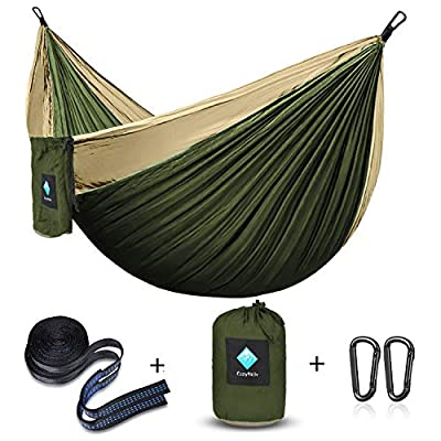ERUW CozyHoliv Camping Hammock, Double Portable Parachute Hammocks for Outdoor Hiking Travel Backpacking - 210D Nylon Hammock Swing for Backyard & Garden 78''W118''L (Khaki/Green - Double)