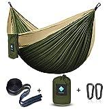 ERUW CozyHoliv Camping Hammock, Double Portable Parachute Hammocks for Outdoor Hiking Travel Backpacking - 210D Nylon Hammock Swing for Backyard & Garden 78''W118''L (Khaki/Green - Double)