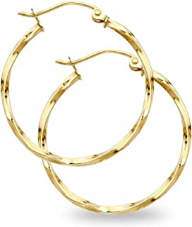 14k Yellow Gold Round Curled Hoop Earrings French Lock Polished Diamond Cut Genuine (Size Options)