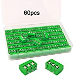 FULARR® 60Pcs Premium 3 Posición 3 Pines Plug-In PCB Terminal Bloque, 5.08mm Pitch PCB Montaje Tornillo Terminal Bloque Conector (300V / 10A, Verde)