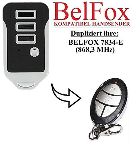 BELFOX 7834 - E Kompatibel Handsender, Ersatz sender, 868.3Mhz fixed code, Klone