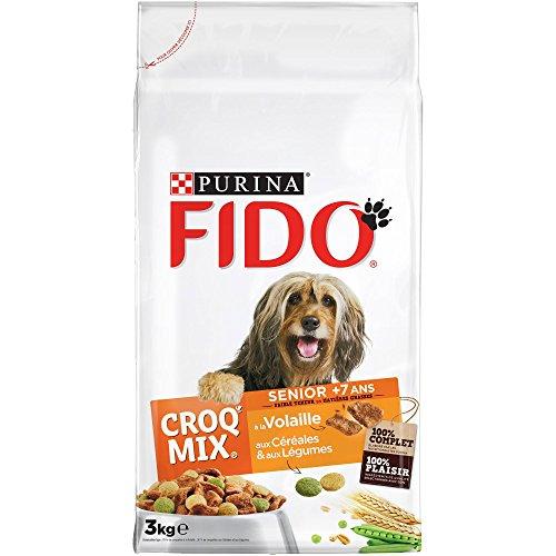 FIDO - Senior à la Volaille, aux Céréales et aux Légumes - 3kg - Croquettes pour Chiens - Lot de 4