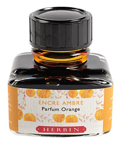 Herbin 13756T -Una boccetta di inchiostro profumato Les subtiles per penne stilografiche e roller, 30 ml, inchiostro ambra e profumo all arancia
