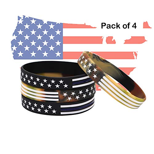 AVEC JOIE USA Rubber Wristbands Silicone Bracelet with American Flag in Black and Army Green for American Patriots, Army and Sport Fans Pack of Four