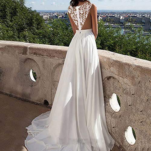 VEMOW Vestido de Novia Dividido de Encaje Sexy para Mujer, Vestido de Noche Playero Mujer Casual Vestidos Largos Casual Floral Maxi Vestido Bohemio Tirantes Playa Verano Tallas Grandes(A Blanco,L)