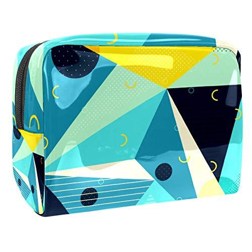 Bolso de Cosméticos Geometría Azul Neceser de Viaje para Mujer y Niñas Organizador de Bolso Cosmético Accesorios de Viaje Estuche de Maquillaje 18.5x7.5x13cm