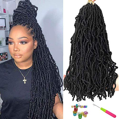 24 Inch Nu Faux Locs Crochet Braids Hair 6 Packs Soft Goddess Curly Wavy Pre-Looped 100% Premium Fiber Synthetic Crochet Braids African Roots Most Natural Pre-twisted Hair Extensions (24 Inch, 1B#)