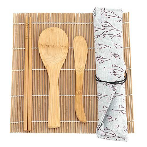 9 piezas Kit de fabricación de sushi Sushi Maker Sushi Mat Sushi Roller 5 piezas Palillos, cuchilla de sushi, paleta, para principiantes, bambú
