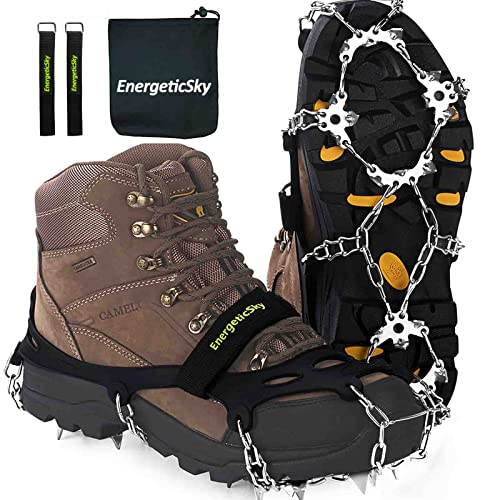 EnergeticSky Upgraded Version of Walk Traction Ice Cleat Spikes Crampons,True Stainless Steel Spikes and Durable Silicone,Boots