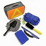 8 PCS Kit per la pulizia dell'auto,Strumento per la pulizia dell'auto,Spazzola per pneumatici/Spugna/Spolverino/Panni per lavare/Raschietto per vetri/Asciugamano per cervi/Secchio pieghevole/Guanto