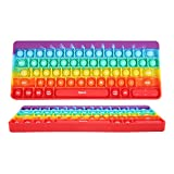 Keyboard Pop Fidget Block Toy Rainbow Solid Color Mouse Bubble Popper Sensory Silicone Simple Board Game With ABC Alphabets Numbers (ABC Rainbow)