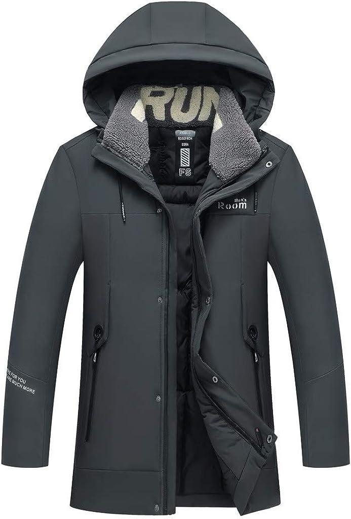 Men's Long Zipper Jacket Hoodie Winter Warm Coat Windproof Outwear