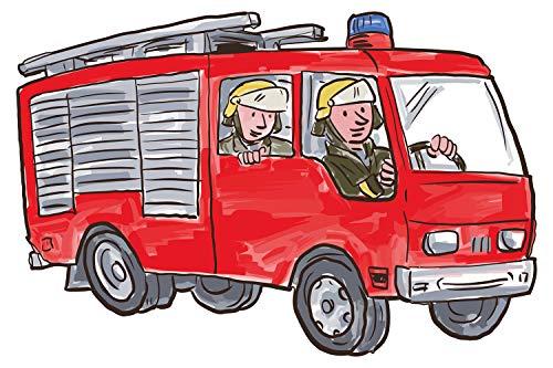 dekodino® Wandtattoo Feuerwehr Auto mit Figuren Wandsticker Kinderzimmer