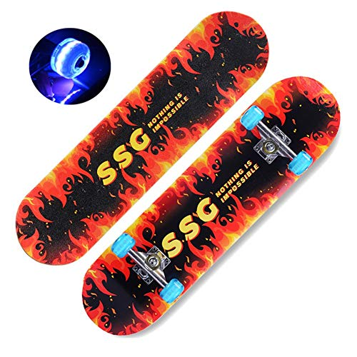 HJQWED Skateboard Completo,con PU Rueda Flash rodamientos, 31 Pulgadas Monopatín para Adolescentes Principiantes Niñas Niños Adultos, 9 Capas Monopatín de Madera de ArceStyle 1