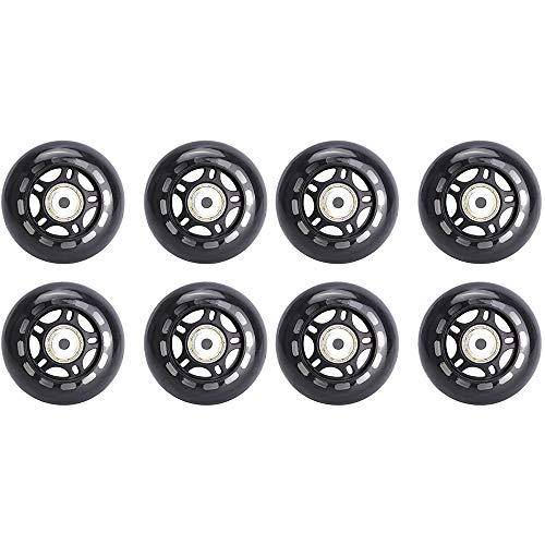 SSCYHT Packung mit 8 Inline Skate Ersatzräder mit ABEC-7 Lagern 76 mm 80 mm 82A PU Rollen für EIN Paar Inliner,80mm