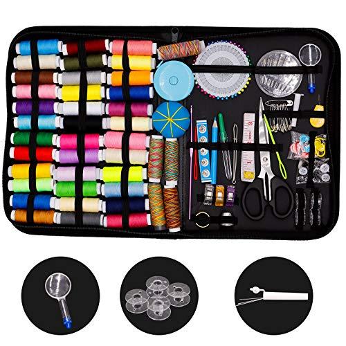 Bluesaly Kit de Costura 184 PCS Premium Accesorios de Costurero 41XL Carretes de Hilo con Funda de Transporte Para Principiantes y Emergencias Portátil Viajes Hogar Agujas de Coser