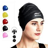Swim Cap for Long Hair,Waterproof Silicone Swimming Caps for Women Men Kids Child