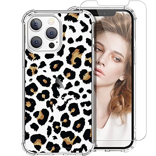 for iPhone 13 Pro Max Case with Screen Protector for Women Girls, Clear Leopard Cheetah Pattern Cute Design Hard Back Soft TPU Bumper Protective Phone Case for iPhone 13 Pro Max 6.7,Black Leopard