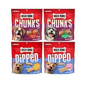 Milk-Bone Dog Treats Variety Pack, Dipped and Chock Full of Chunks, 4 Flavors, 1 Bag Each