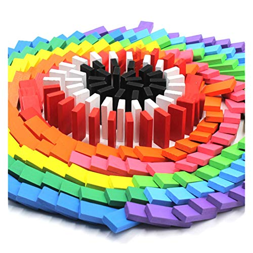 ZIJ 240 unids/Set Rainbow Wooden Domino Juguete Set Niños Niños Dominó Dominoes Juego Bloques de construcción Educativo Natural Madera Juguetes Regalos