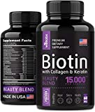 Biotin, Keratin & Collagen Pills - Marine Collagen & Biotin Vitamins for Hair, Skin, and Nails - Made in The USA - Collagen Peptides, Keratin & Biotin Supplement for Nail & Hair Growth