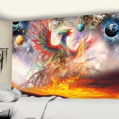 Wiedergeburt Aus Der Asche-Phoenix Wandteppich Und Tagesdecke Aus Weiches Mikrofaser Stoff Wand Dekoration Für Schlafzimmer59X59ihch(150X150CM)