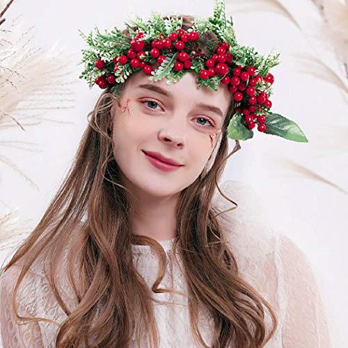 Simsly Ribbon Crown Boho Floral Crown Christmas berries Crown Wedding Vacation Wreath Hairpiece for Women and Girls. (Red)