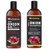 Vedlekha Premium ONION Hair oil and Shampoo Combo pack of 2 bottles of