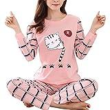 FOReverweihuajz Pijama para Mujer, Conjunto de Pijama de Invierno con Estampado de Gato de Dibujos Animados, X-Large