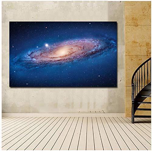 Wandkunst Poster Druck Galaxy Poster Leinwand Malerei Raum Bilder für Wohnzimmer Dekorative Bilder 30x60cm Mit Rahmen blau