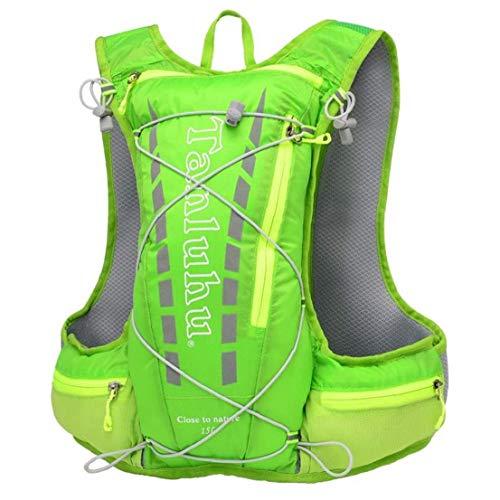 WFIT Mochila Hidratación Correr Bolsa De Deportes Acuáticos De Agua Chaleco Ultraligero con Capacidad para 15l Al Aire Libre Senderismo Ciclismo Campaña Verde