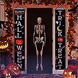 Joyjoz Decoración de Halloween Banner colgante de puerta de Halloween Truco o trato para decoraciones de Halloween de la puerta delantera del porche al aire libre