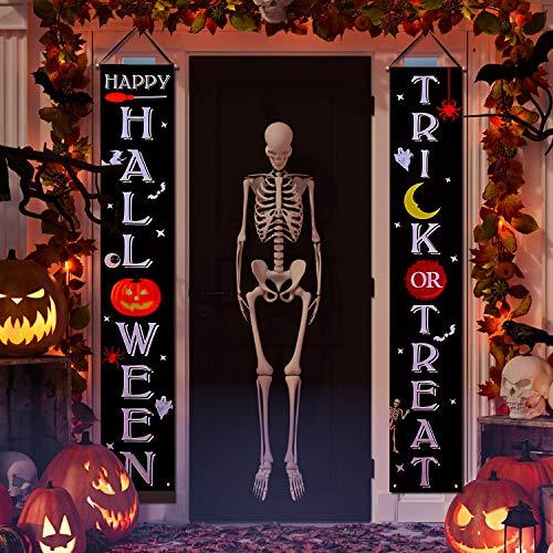 Joyjoz Halloween Dekoration Tür Halloween hängendes Banner Trick or Treat für Veranda Haustür Halloween Deko im Freien