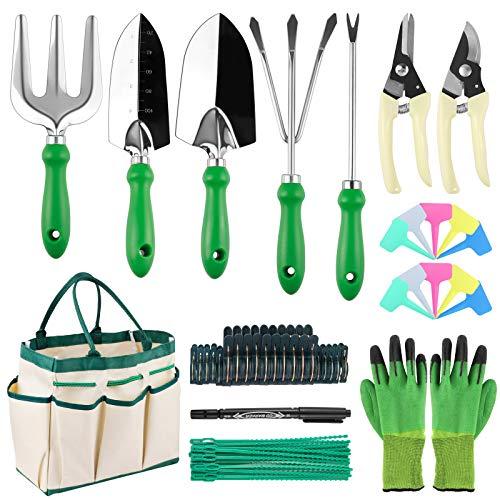 Minterest 60 herramientas de jardinería, kit de jardinería con guantes, pala, jardinería, con bolsa de almacenamiento, etiqueta de planta, mejor regalo para hombres y mujeres jardineros